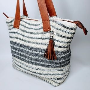 NWOT The Sak Knitted Silver Sequin Tote w/ Tassel